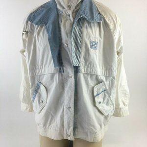 Vintage Current Seen Bomber Jacket White Blue High